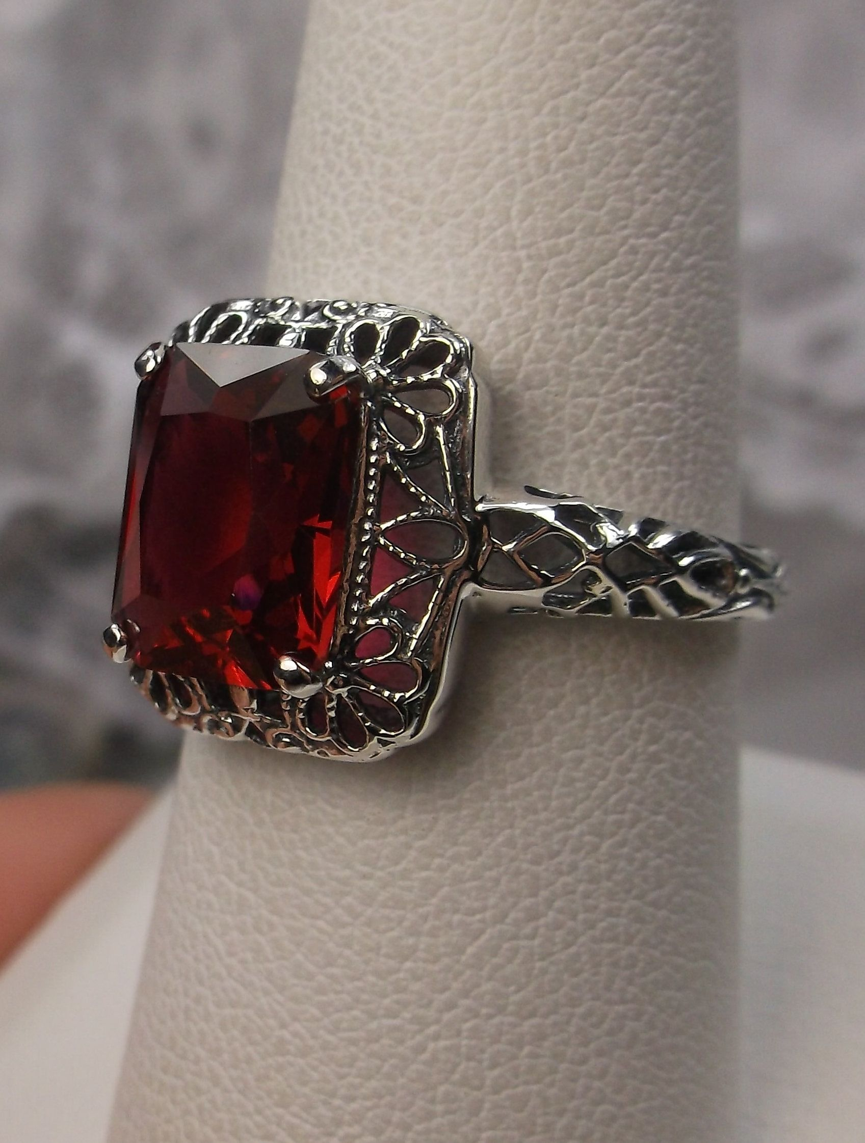 *Ruby* Sterling Silver Filigree Edwardian//Deco Reproduction Ring {Made To Order}