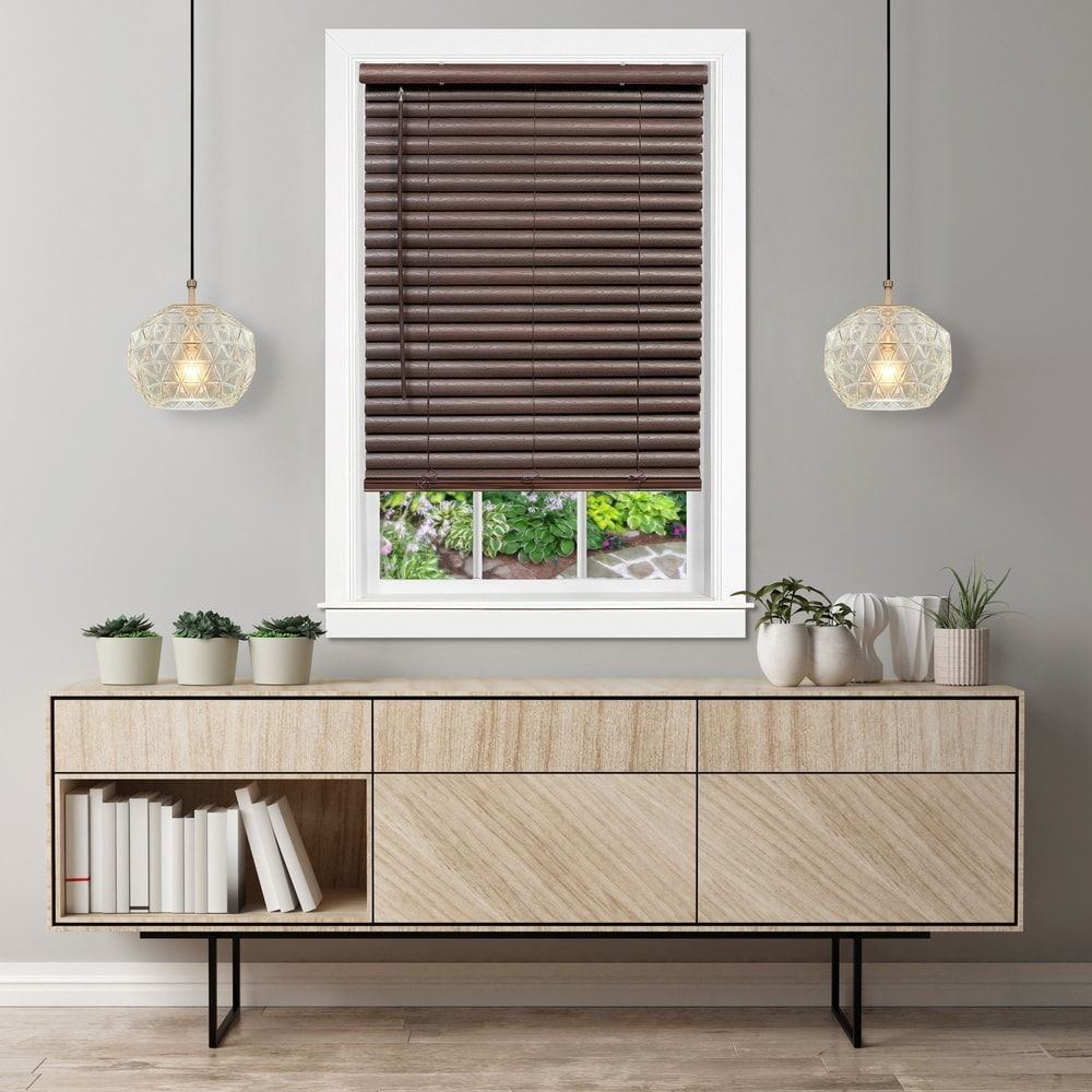 Carson Carrington Cloghy Mahogany 2 Inch Vinyl Blind 31 W X 64 L Brown In 2020 Wood Blinds Blinds Faux Wood Blinds