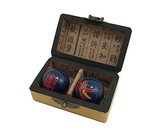 Caja de bolas de Feng Shui en madera y cuero - amarillo