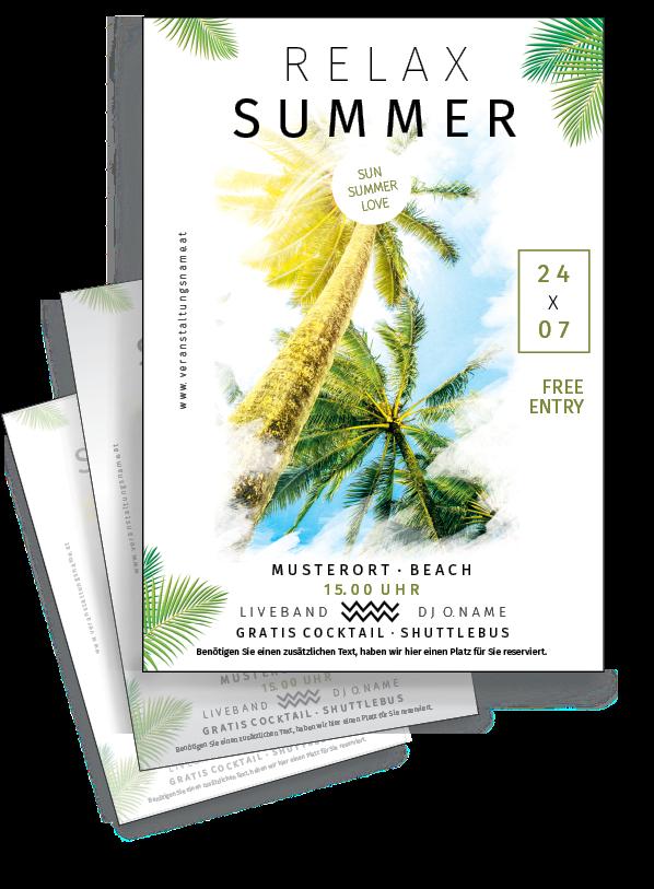 Nutzen Sie Den Gratis Versand In Osterreich Und Deutschland Onlineprintxxl Flyer Sommerfest Vacation Beach Sommer Palmen Flyer Flyer Vorlage Sommerfest