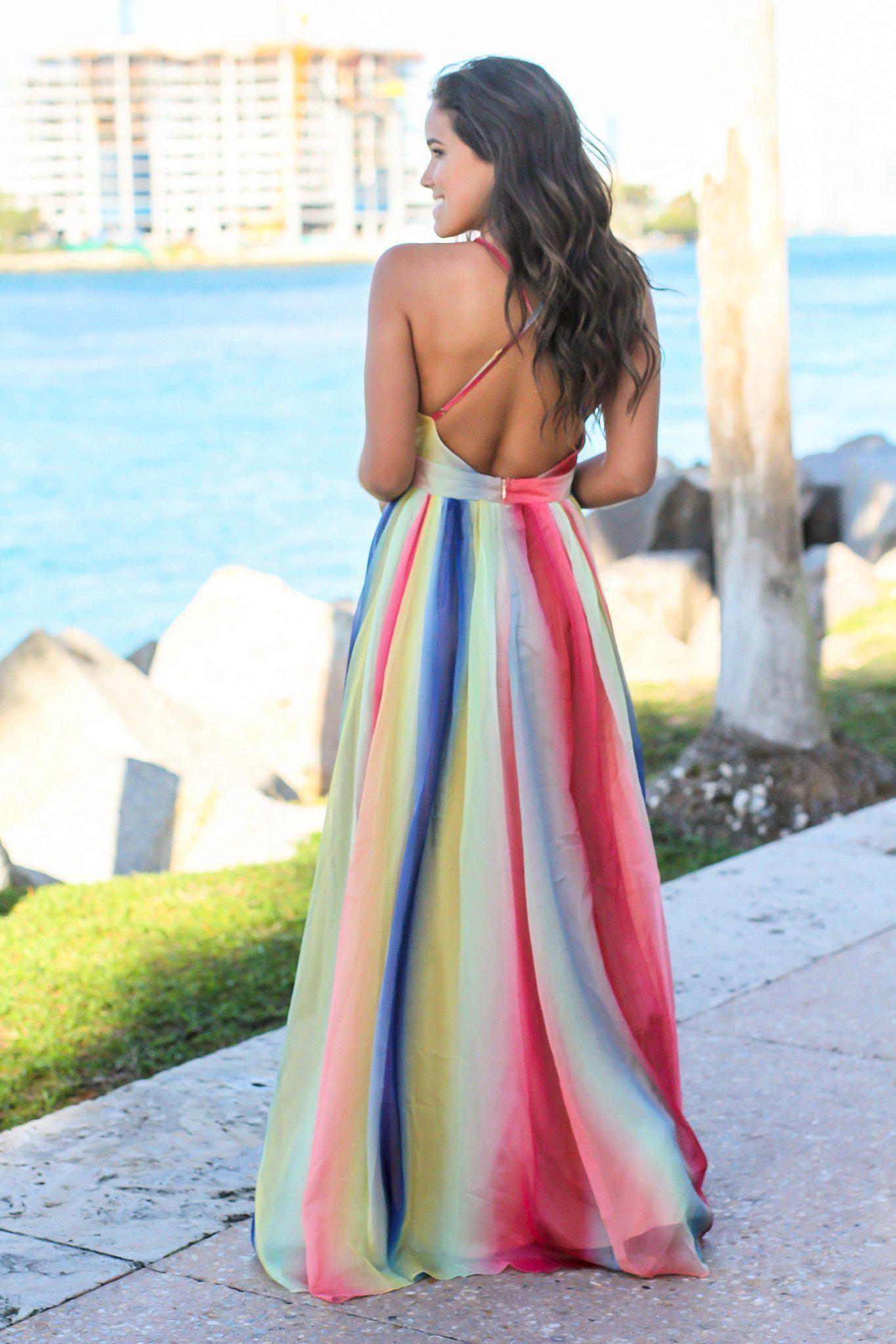 Rainbow Maxi Dress With Criss Cross Back Maxi Dress Dresses Saved By The Dress [ 2047 x 1365 Pixel ]