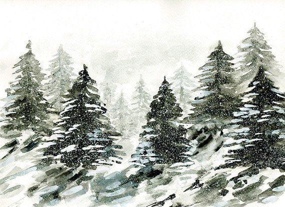 Acquerello originale paesaggio invernale innevato di bianco e nero pino alberi foresta arte
