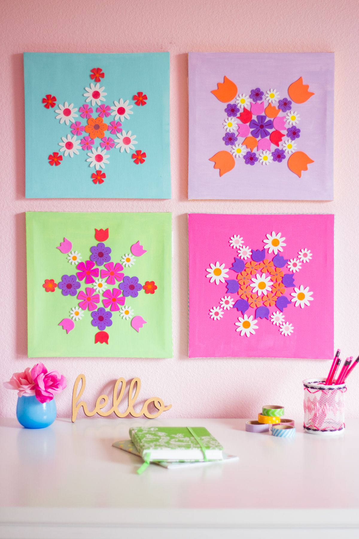 Canvas Art Ideas Part - 28: How To Make DIY Flower Wall Art From Stickers!