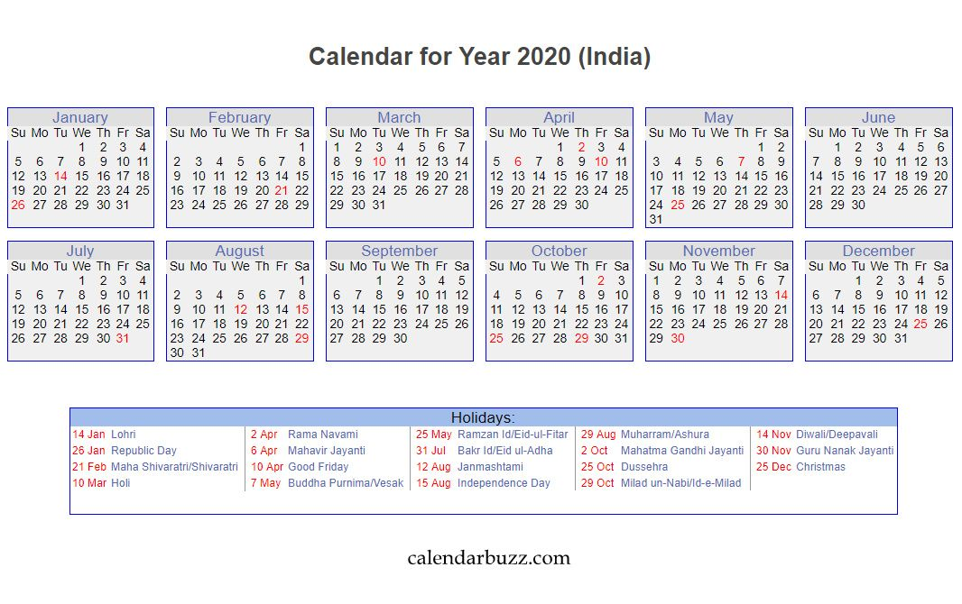Indian 2020 Holidays Calendar Printable in 2020 Holiday
