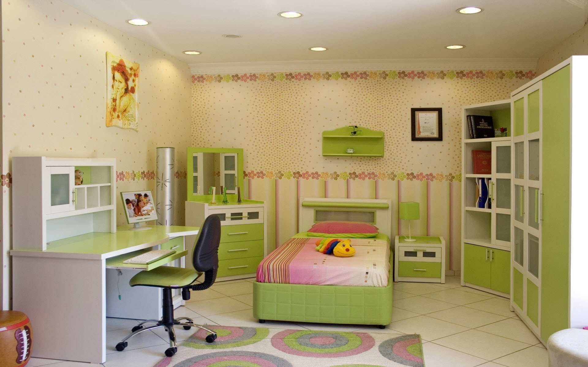 Pink And Green Home Decor Pink And Green Bedrooms Green Pink Bed Sheet Wooden Sliding White