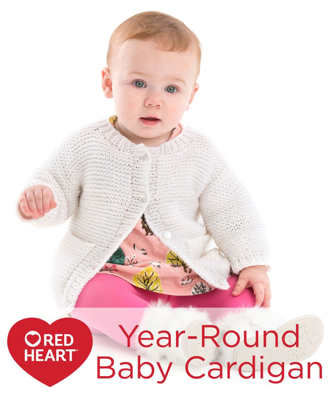 Year-Round Baby Cardigan Free Knitting Pattern in Red Heart Yarns ...