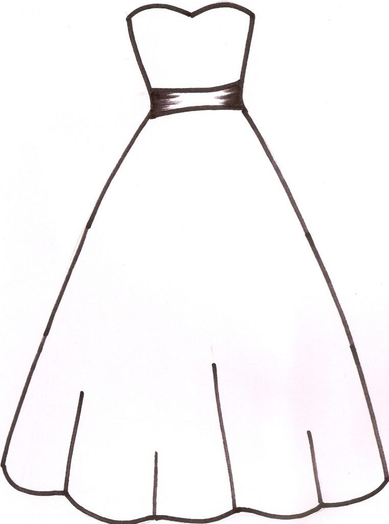 Clothing Clip Art Images Black And White 2019 Dress Templates Wedding Coloring Pages Wedding Dress Template