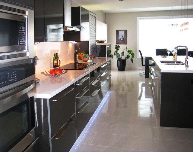 High Gloss White Laminate Countertop Contemporary Kitchen White