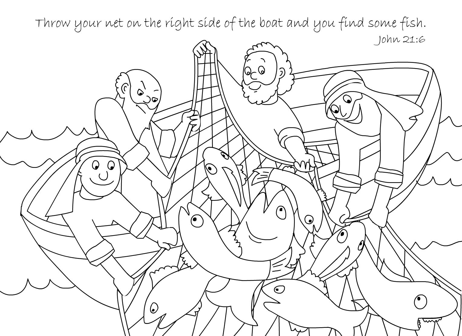 A Net Full of Fish Coloring Page Free Download | Bible ...