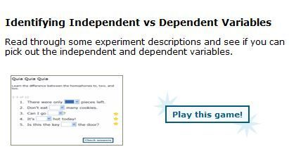 Quiz your students on independent and dependent variables. Provides the correct answers for each set of five questions, and then gives five more questions. Great for review. 6.EE.9