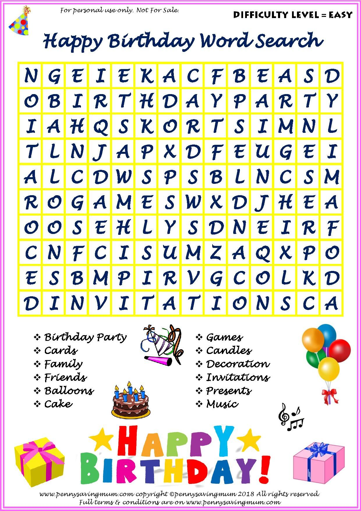Word Search Happy Birthday Easy Version