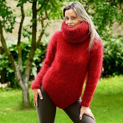 Red Hand Knit Mohair Sweater Bodysuit Fuzzy Dress Pullover