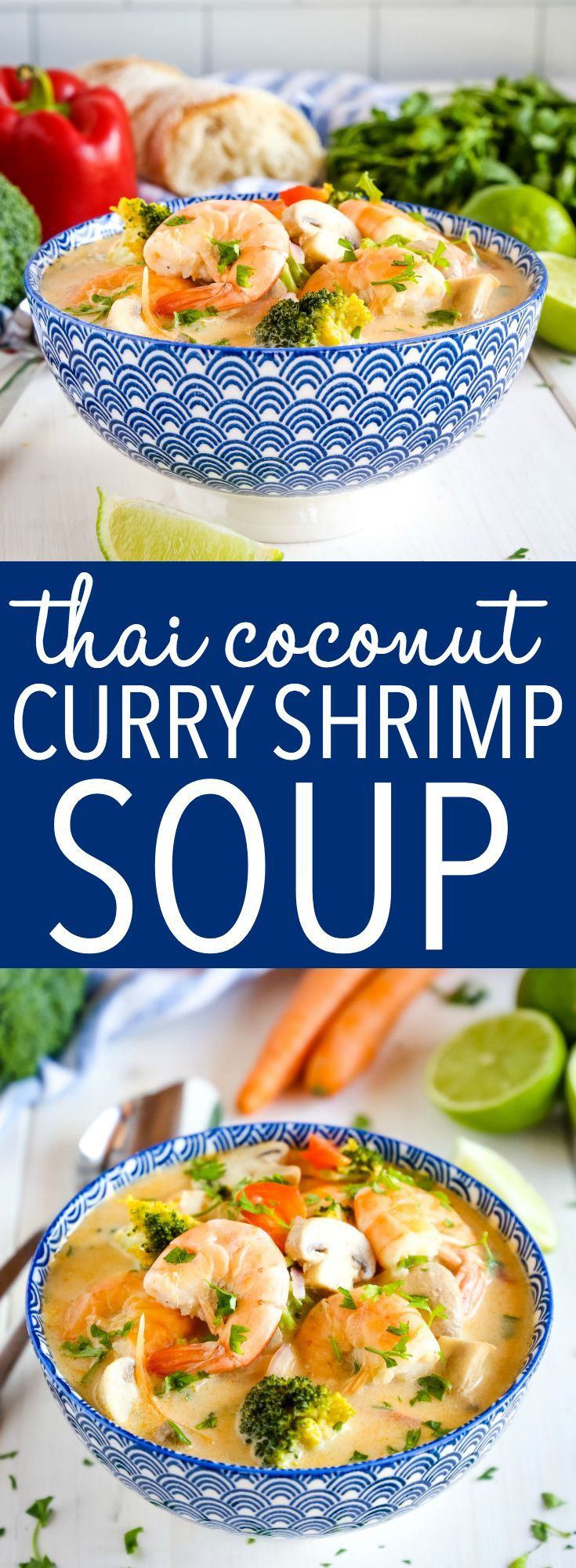 Thai Coconut Curry Shrimp Soup This Thai Coconut Curry Shrimp Soup is packed with vegetables and bursting with Thai flavours! It's dairy-free and comes together in 30 minutes or less! Recipe from ! via @busybakerblog