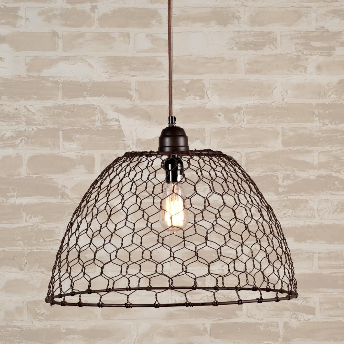 Red Kitchen Light Shades Chicken Wire Basket Pendant Light Chicken Wire Wire Pendant And