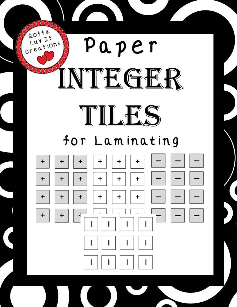 Free Download Integer Tiles Math Integers Teaching Integers Integers [ 1056 x 816 Pixel ]