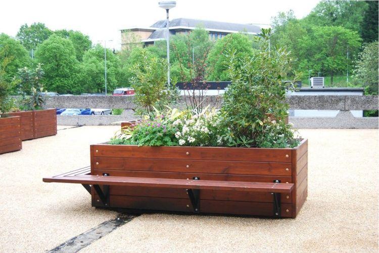 Pflanzkuebel Holz Pflanzgefaess Hochbeet Sitzbank Eins Konstruktion