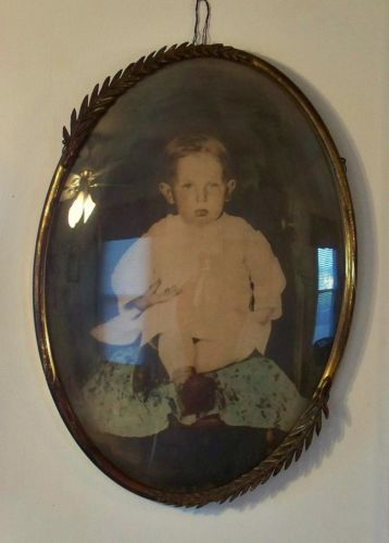 Antique Vtg Metal Oval Picture Frame Bubble Convex Glass Young Boy