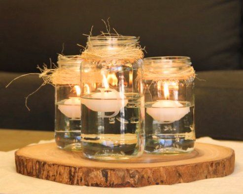 30 Rustic Mason Jar Centerpiece With Floating Candles On