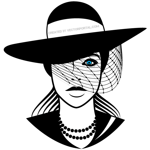 Beautiful Lady With Hat Vector Art Hat Vector Vector Art Lady Logo