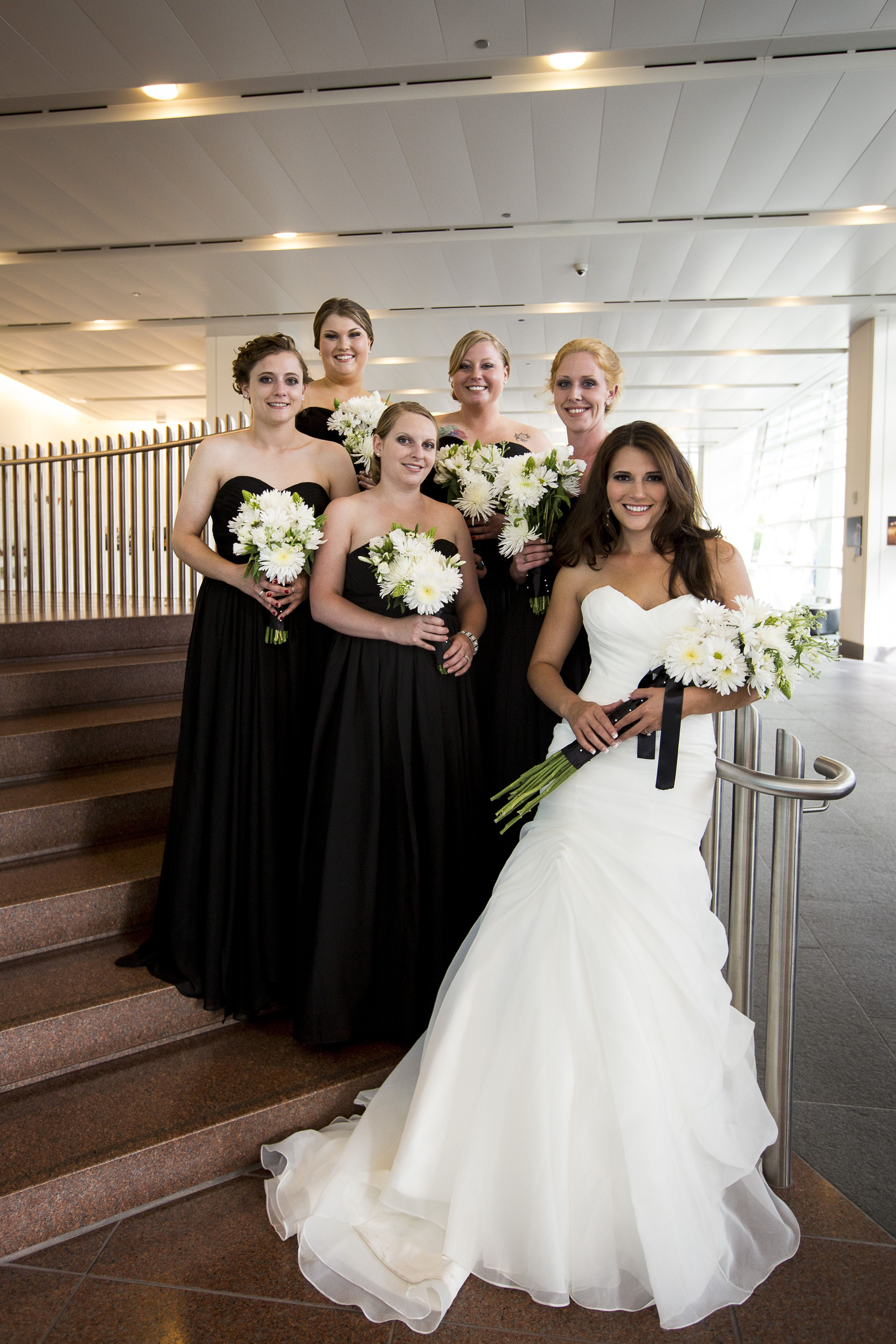 Downtown denver colorado 4th of july wedding bride and downtown denver colorado 4th of july wedding bride and bridesmaids black bridesmaids dresses diy flowers ombrellifo Images