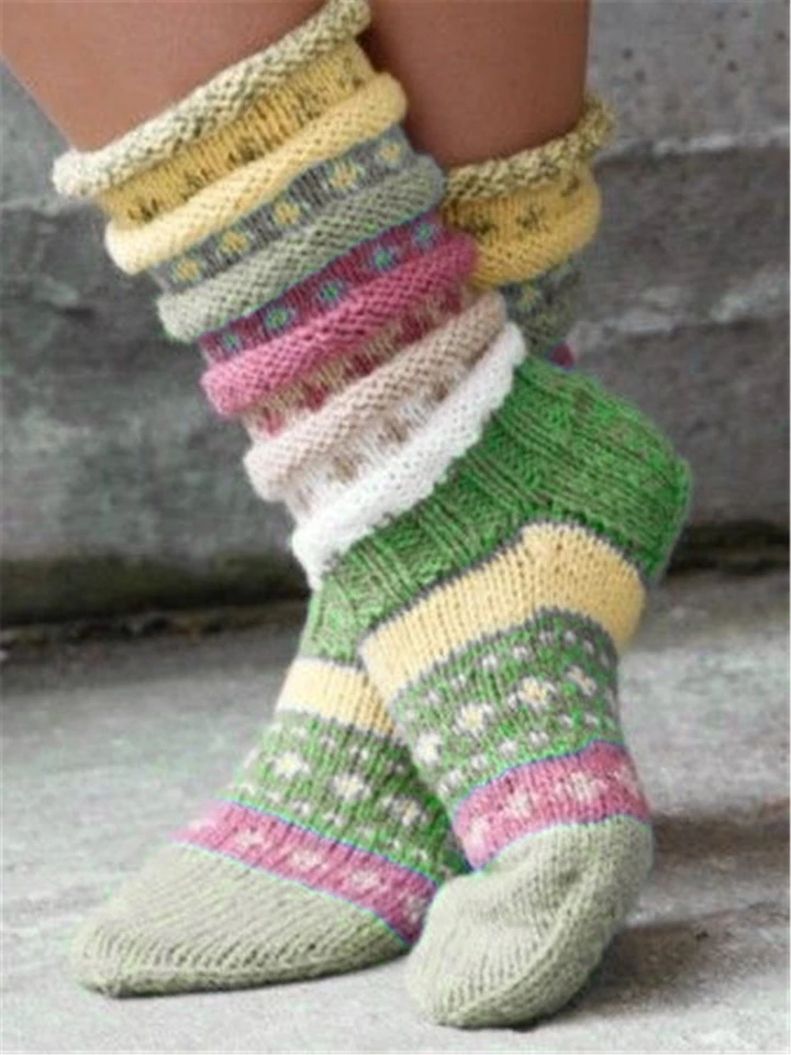 Photo of Casual green vintage knit socks