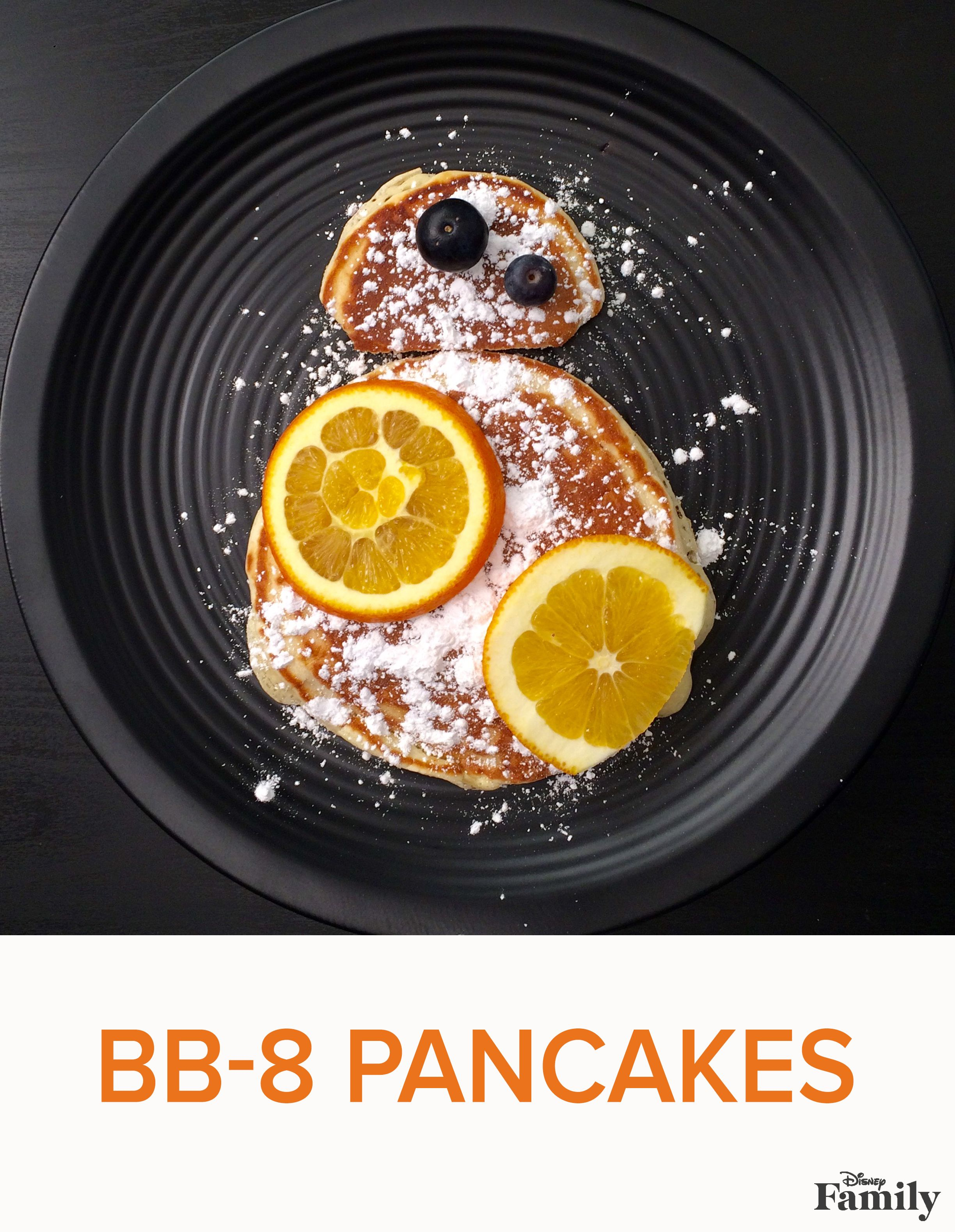 """Roll out of bed and celebrate """"Star Wars: The Force Awakens"""" with an epic breakfast adventure featuring our BB-8 pancake recipe! Grab some powdered sugar as well as some fresh fruit, and follow the recipe at Disney Family to transform regular pancakes into a Star Wars breakfast from another galaxy."""