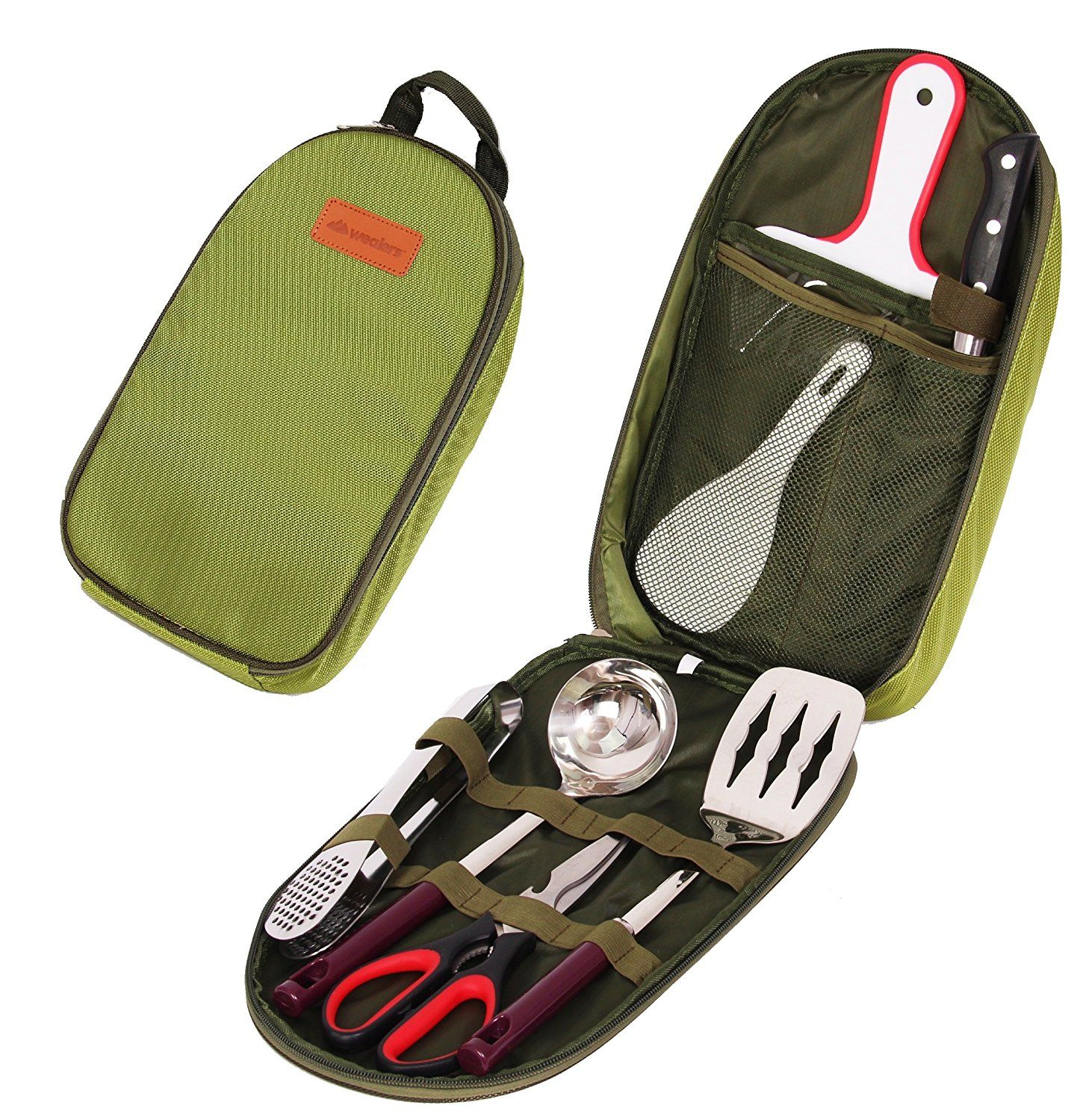 Portable Camping Utensil Set Carrying Case Organizer BBQ Outdoor Accessories Kit