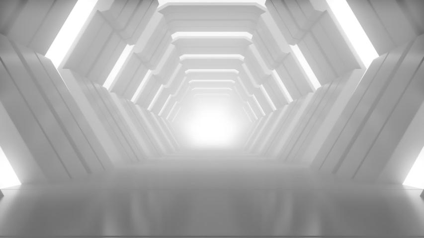 Realistic Hexagon Futuristic Studio with Stock Foo