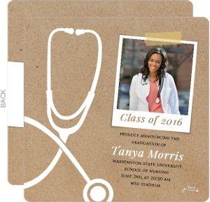 Fun Kraft Stethoscope Nursing School Graduation Announcement
