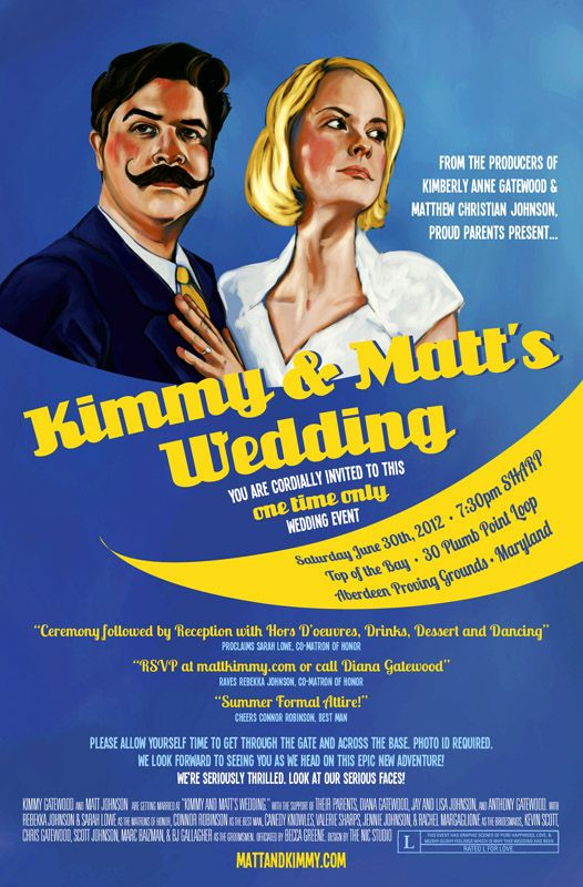 Matt Kimmys Illustrated Movie Poster Wedding Invitation Vintage