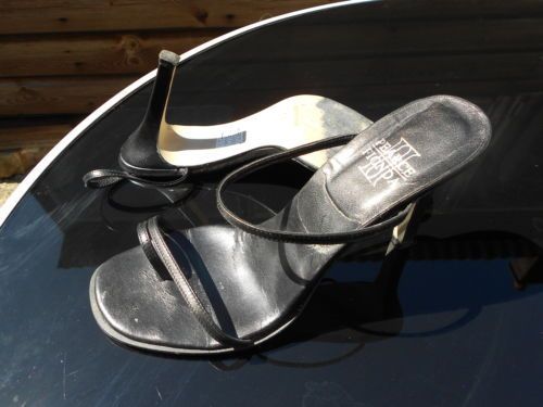 Ladies-Pearce-Fionda-Black-Leather-Strappy-Sandals-Size-39