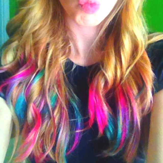 rainbow tip hair