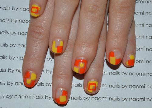 Here is another old design that I just never posted for some weird reason. If you didn't see the one from last week, click here!These are some cool nails that play a lot with negative space.To start out, clean, file and shape your nails as usual and apply a base coat. Then:1. use a small brush and some yellow polish to make a square shape on your nail, then fill in your entire nail except for the square.2. apply a second coat of yellow polish if the first was not opaque.3. Repeat steps 1…