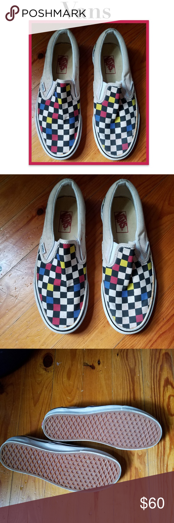 Vans Checkered Mens Slip On Shoes Colors of classic black and white along with red yellow and blue Checkerboard Vans slip on shoes Condition has just slight wear Still in...