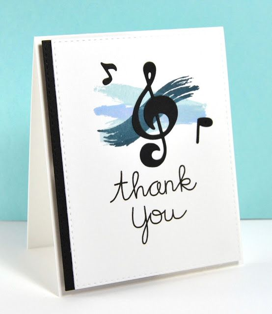 Thank you card by Kara for Paper Smooches - Music Notes die ...
