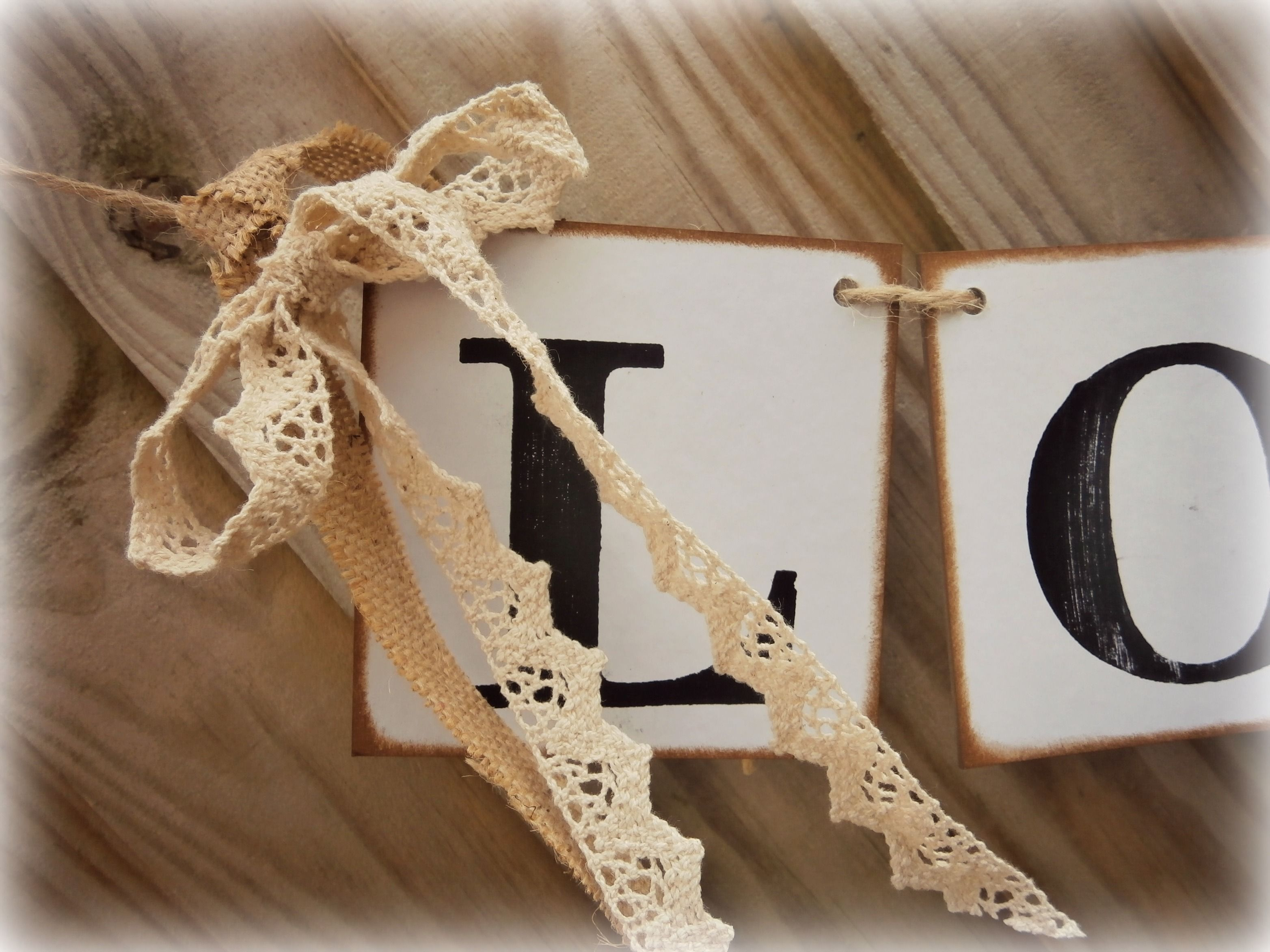 Lace and Burlap on chipboard banner perfect for barn weddings/rustic chic