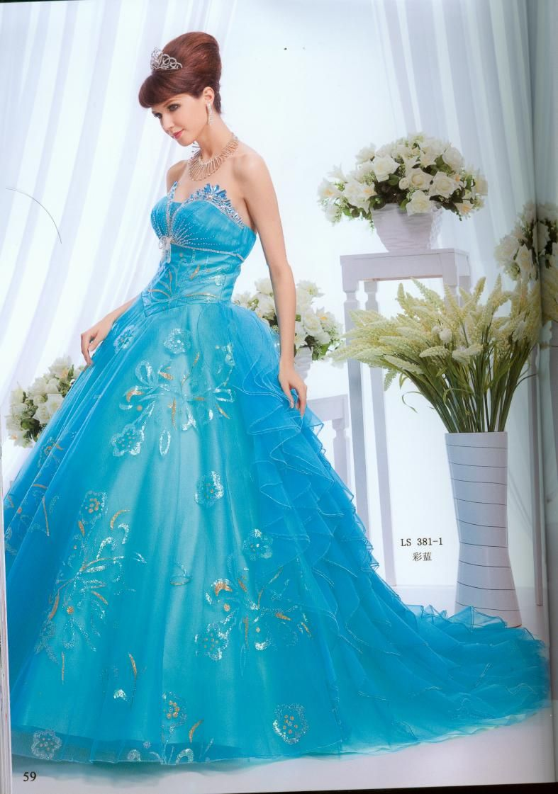 Teal,Wonderful ball gown sweetheart-neck floor-length quinceanera ...