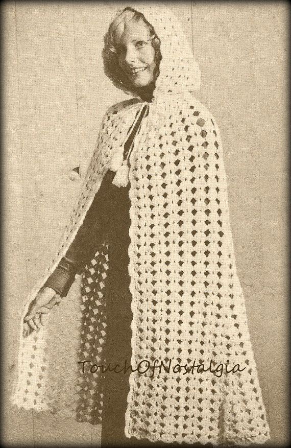 Long CAPE HOODED Crochet Pattern Vintage - Long Cape With Attached ...