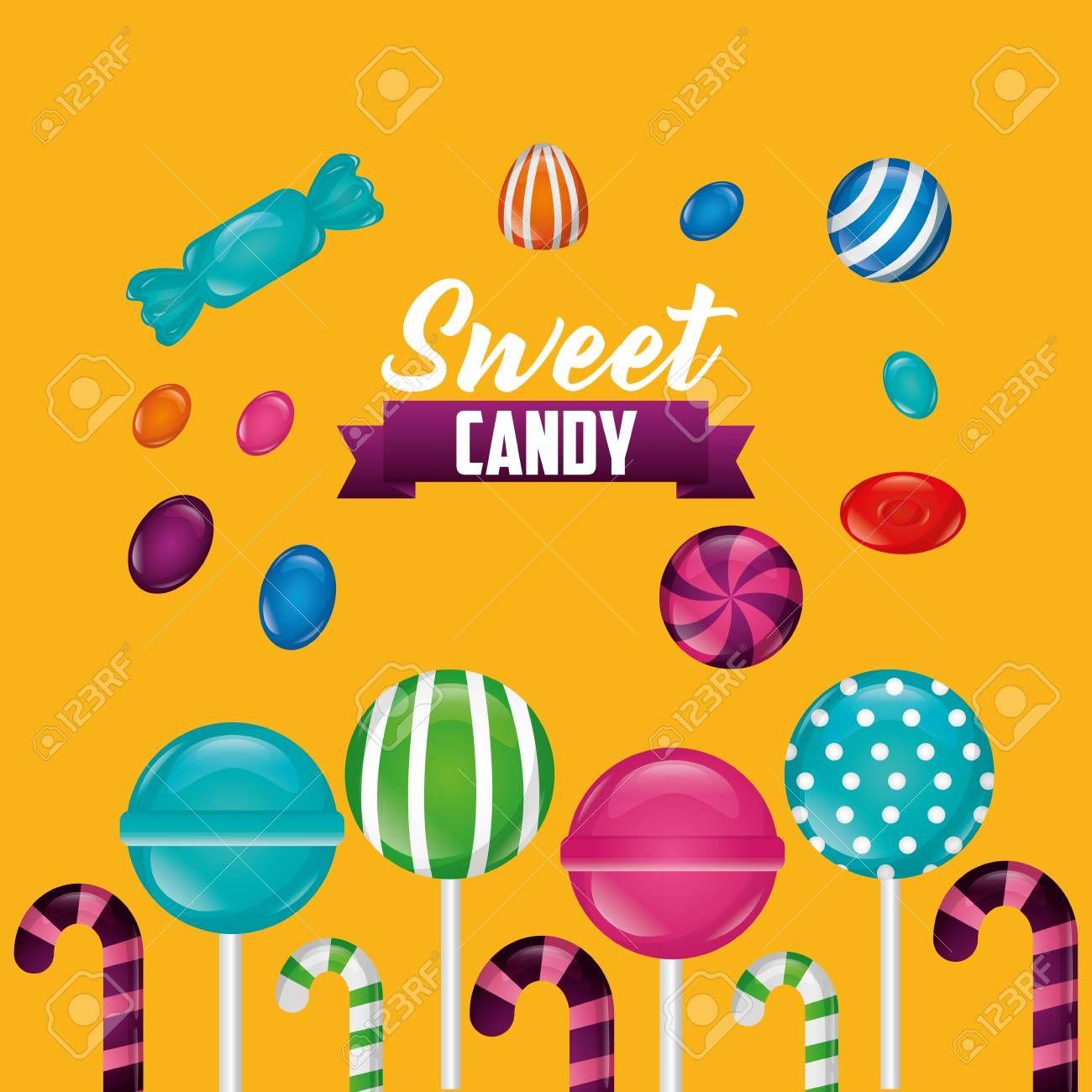 sweet candy ribbon sign bombom candy canes bananas vector