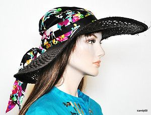 Nwt Lauren by Ralph Lauren Straw Sun Hat with Attached Silk Scarf  ~Black Floral 568e32159a7
