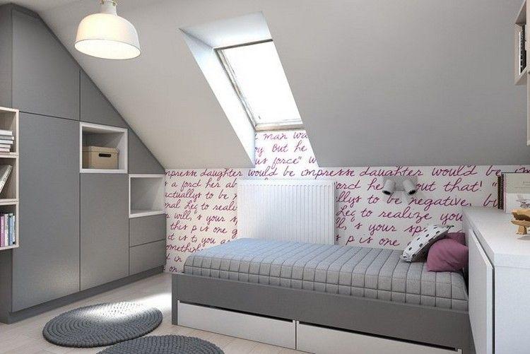 chambre enfant grise sous les combles avec déco murale ...