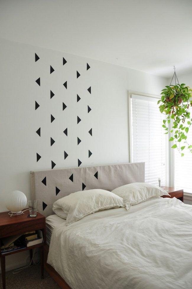wand-streichen-muster-ideen-schwarze-dreiecke-schlafzimmer - streichen schlafzimmer