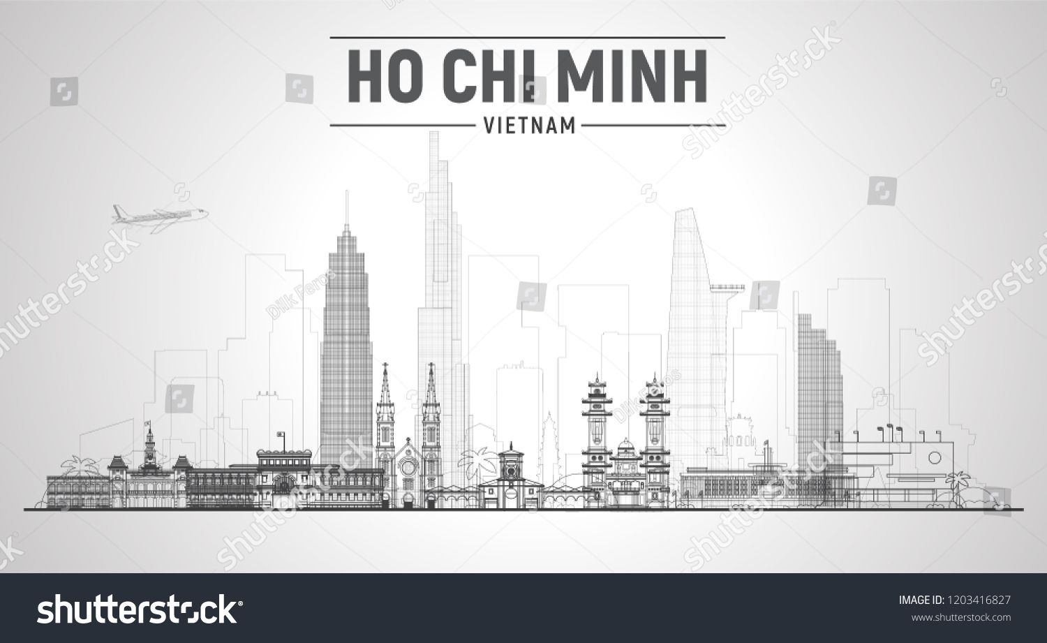 Ho Chi Minh City Vietnam Line Skyline With Panorama In White Background Vector Illustration Business Travel And Tourism Travel And Tourism Tourism Panorama