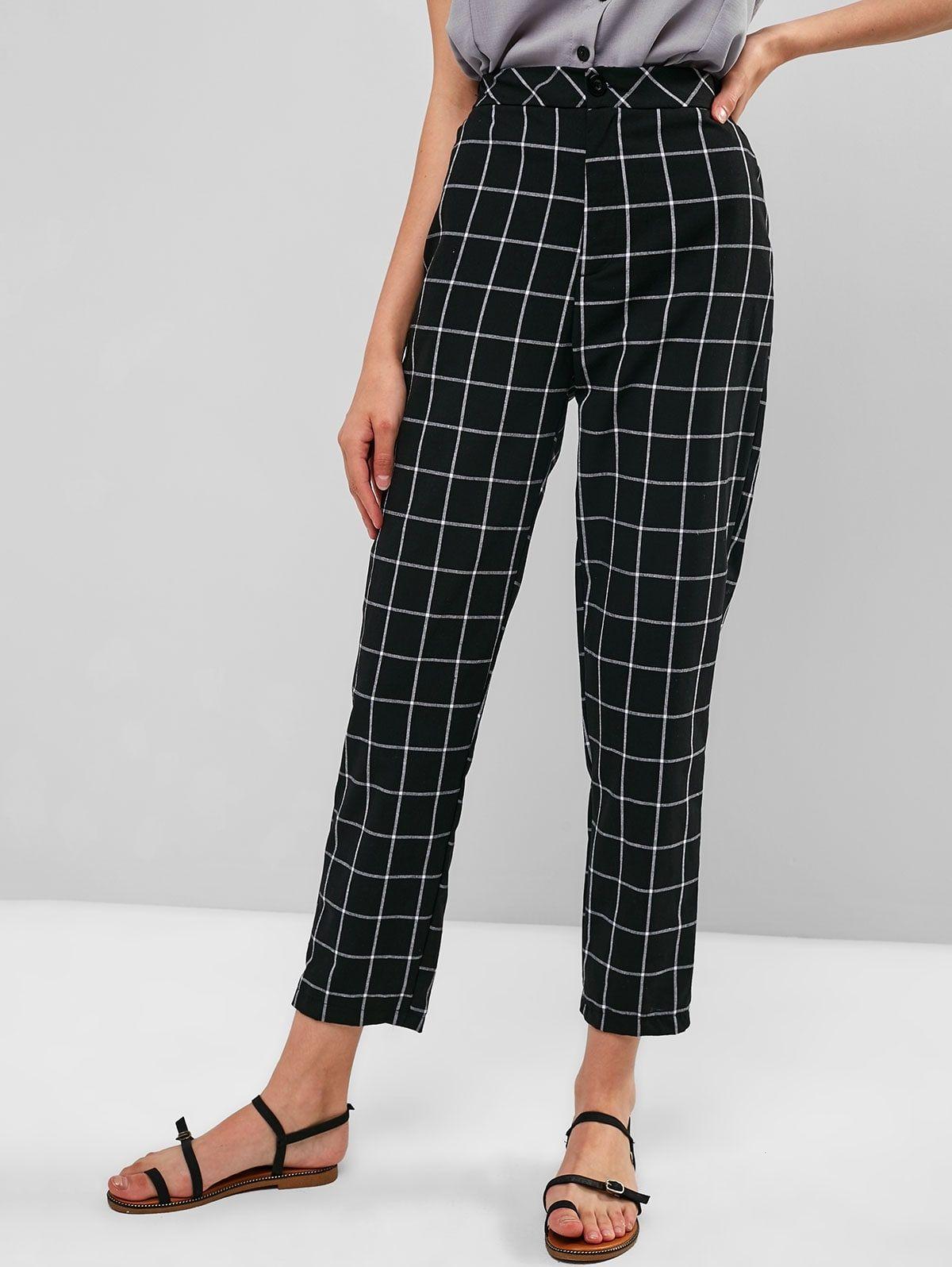 High Waist Zipper Checkered Pants Black Affiliate Zipper Waist High Black Pants Ad Checker Pants Fashion Pants Black Pants