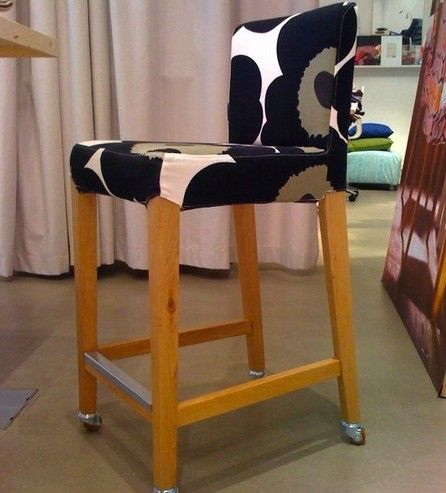 Perfect An Ikea Henriksdal Bar Stool Goes From Plain To Designer On Wheels With A  Marimekko Unikko Cover From Bemz And Some Casters.