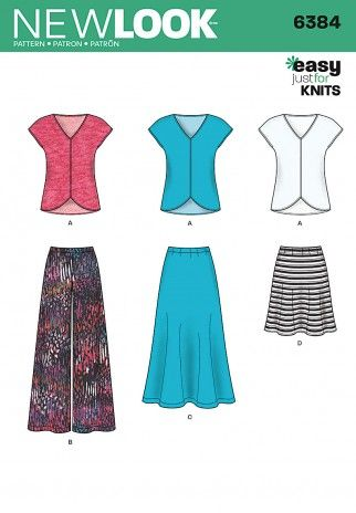 New Look Ladies Easy Sewing Pattern 6384 Jersey Knit Skirts & Tops ...