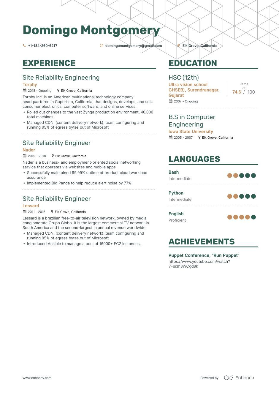 Site reliability engineer resume example and guide for