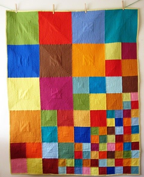 Quick baby quilt idea, with baby pastel colors.
