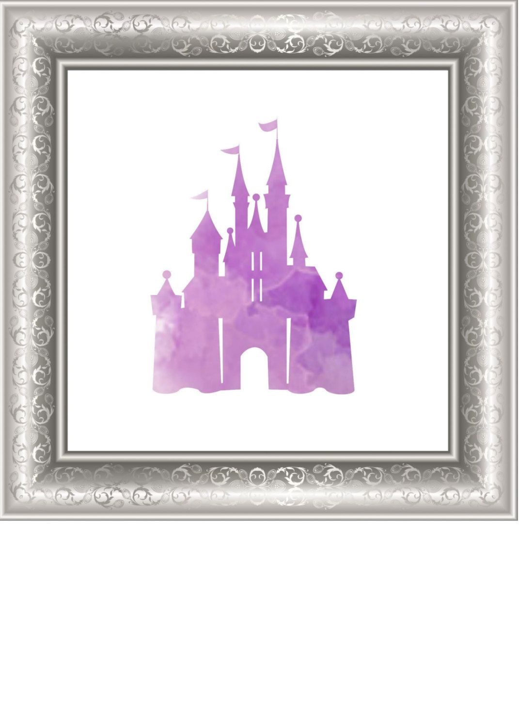 purple cinderella castle printable art work, purple castle