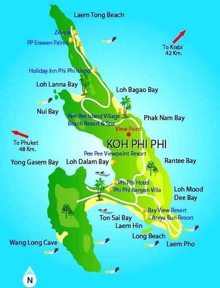 Kayaking Phi Phi Thailand Map Phi Phi Island Phuket To Krabi